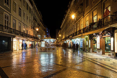 Photograph - Lisbon Portugal Night Magic - Nighttime Shopping In Baixa Pombalina by Georgia Mizuleva