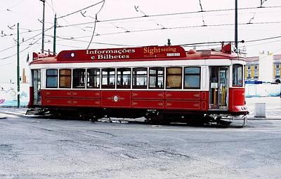 Photograph - Lisbon Red Tram by Dora Hathazi Mendes