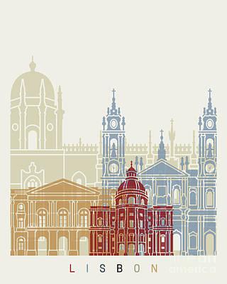 Lisbon Painting - Lisbon Skyline Poster_v2 by Pablo Romero