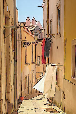 Lisbon Street #2 Art Print by Tom and Pat Cory