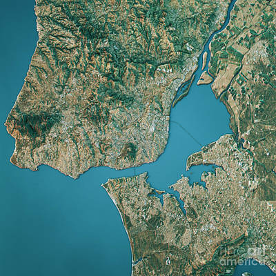 Map Digital Art - Lisbon Topographic Map Natural Color Top View by Frank Ramspott