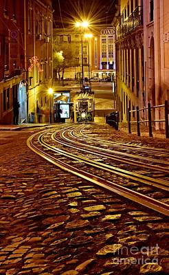 Photograph - Lisbon Tram At Night by Steven Liveoak