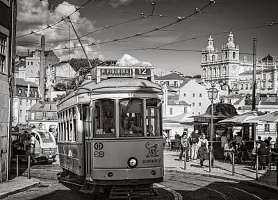 Tram Photograph - Lisbon Tram Bw by Joan Carroll