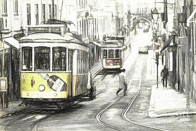 Digital Art - Lisbon Trams Sketch by Howard Ferrier