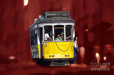 Digital Art - Lisbon Trolley Art by John Rizzuto