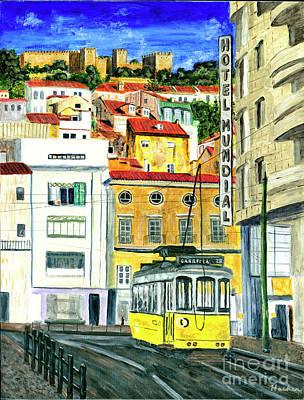 Lisbon Trolley Painting Original by Timothy Hacker