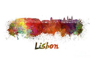 Lisbon Painting - Lisbon V2 Skyline In Watercolor by Pablo Romero