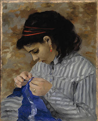 Renoir Painting - Lise Sewing by MotionAge Designs