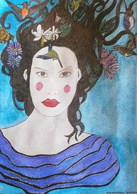Colibri Painting - Lise Y Los Colibriies by Anne Bazabidila