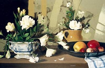 Painting - Lisianthus In Willow Pattern Compote Bowl And Fruit In A Black Ikebana Bowl by Robert Holden