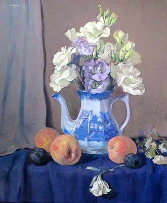 Painting - Lisianthus In Blue Willow Coffeepot, Peaches And Plums by Robert Holden