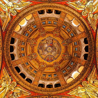 Rendition Photograph - Lisieux St Therese Basilica Dome Ceiling by Olivier Le Queinec