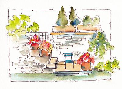 Painting - Lisle Sur La Sorgue Terrace by Pat Katz
