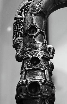 Photograph - Lismore Crozier Macro Irish Artistic Heritage Black And White by Shawn O'Brien