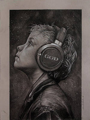 Religion Drawing - Listen 10 by Brent Schreiber