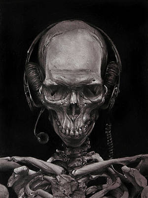 Skull Drawing - Listen 17 - Self Portrait 41,  Dec 2016 by Brent Schreiber