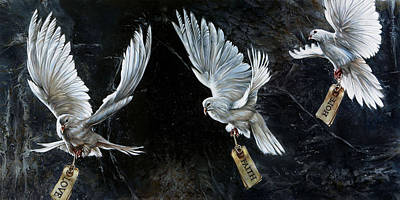 White Bird Painting - Listen 3 by Brent Schreiber