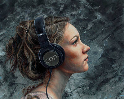 Spiritual.realistic Painting - Listen 4 by Brent Schreiber
