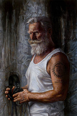 Classical Realism Painting - Listen 6 - Job by Brent Schreiber