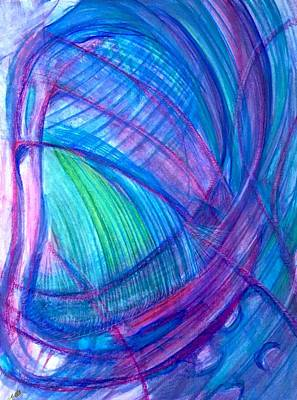 Contemporary Abstract Drawing - 'listen Hard' by Kelly K H B