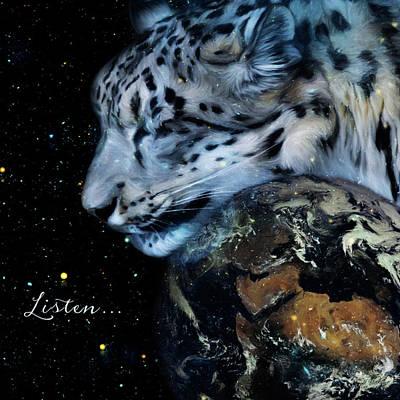 Painting - Listen - Snow Leopard Art  by Jordan Blackstone