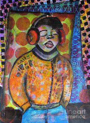 Folkart Mixed Media - Listen To The Beat by Amanda Trought