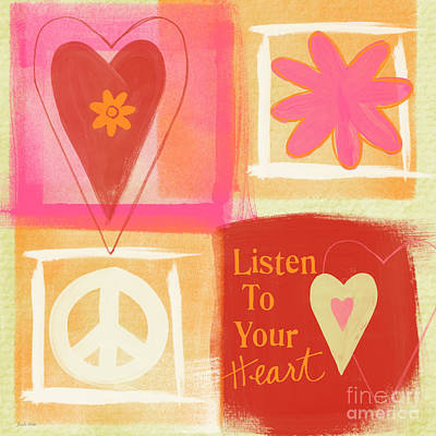 Valentine Painting - Listen To Your Heart by Linda Woods