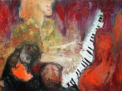 Listener Painting - Listeners In The Club by Piret Rohusaar