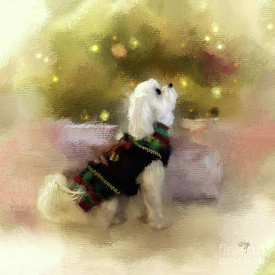 Maltese Puppy Wall Art - Digital Art - Listening For Santa by Lois Bryan