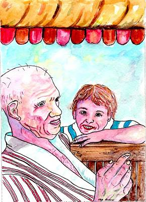Listening To Grandpas Endless Funny Stories Art Print
