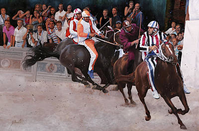 Horse Race Painting - L'istrice by Guido Borelli