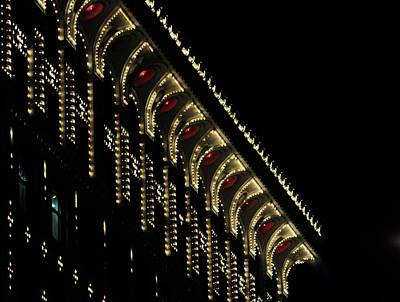 Travel Rights Managed Images - Lit Building At Night Royalty-Free Image by Jerry Sodorff