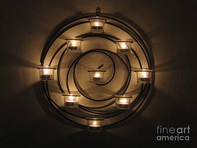 Photograph - Lit Candelabra At Night by Karen Sydney