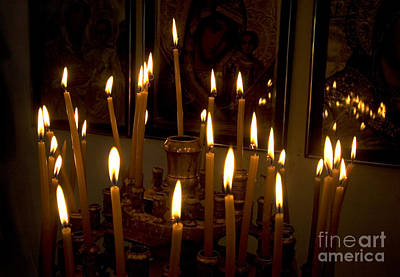 lit Candles in church  Art Print by Danny Yanai