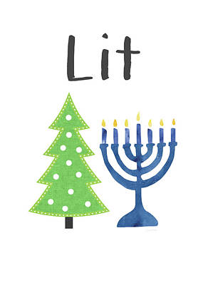 Lit Christmas And Hanukkah- Art By Linda Woods Art Print