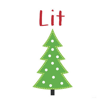 Lit Christmas Tree- Art By Linda Woods Art Print
