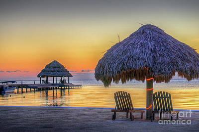 Photograph - Lit Palapa Sunrise by David Zanzinger