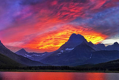 Glacier National Park Photograph - Lit Skies by Andrew Soundarajan