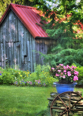 Red Farmhouse Photograph - Litchfield Hills Summer Scene by Thomas Schoeller