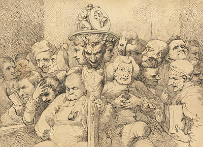 Drawing - Literary Characters Assembled Around The Medallion Of Shakespeare by John Hamilton Mortimer