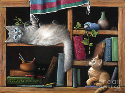 English Ivy Painting - Literary Kittens by Kate Robertson