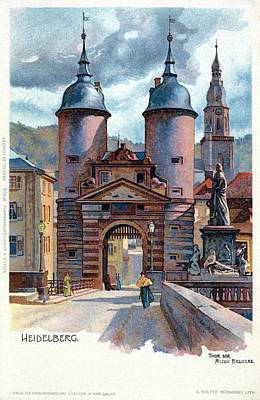 Litho Heidelberg Old Bridge Gate Art Print by Heidi De Leeuw