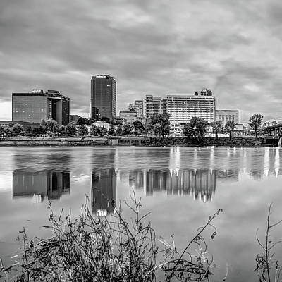 Photograph - Litle Rock Arkansas Skyline - Square Black And White by Gregory Ballos
