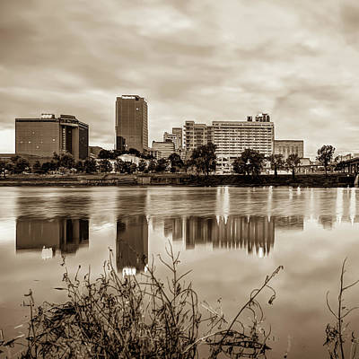Photograph - Litle Rock Arkansas Skyline - Square Sepia by Gregory Ballos