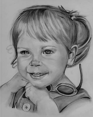 Drawing - Litlre Girl W/sunglasses by Barb Baker