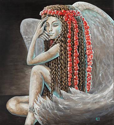 Fairy Painting - Little Angel by Eurika Urbonaviciute