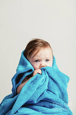 Photograph - Little Baby Girl Tucked In A Cozy Blue Blanket. by Michal Bednarek