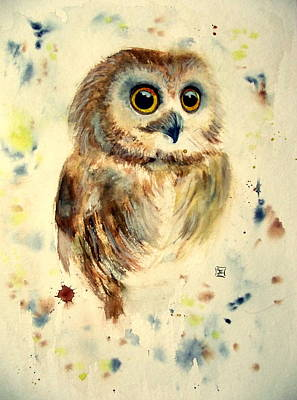 Painting - Little Baby Owl by Ruth Trinczek