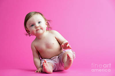 Photograph - Little Baby Sitting, Leaning Over. by Michal Bednarek