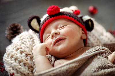 Photograph - Little Baby Sleeping In Christmas Costume by Anna Om